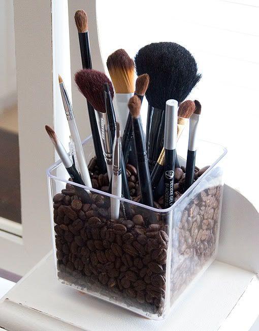 25 Genius Craft ideas | Coffee makeup brush holder.