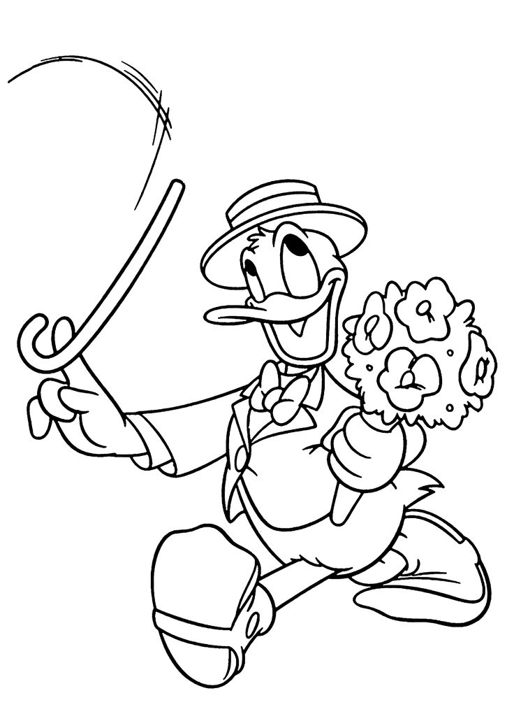Donald Duck Gentleman Coloring Pages For Kids Printable Free