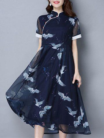 Vintage Women Cranes Printed Short Sleeve High Waist Dresses