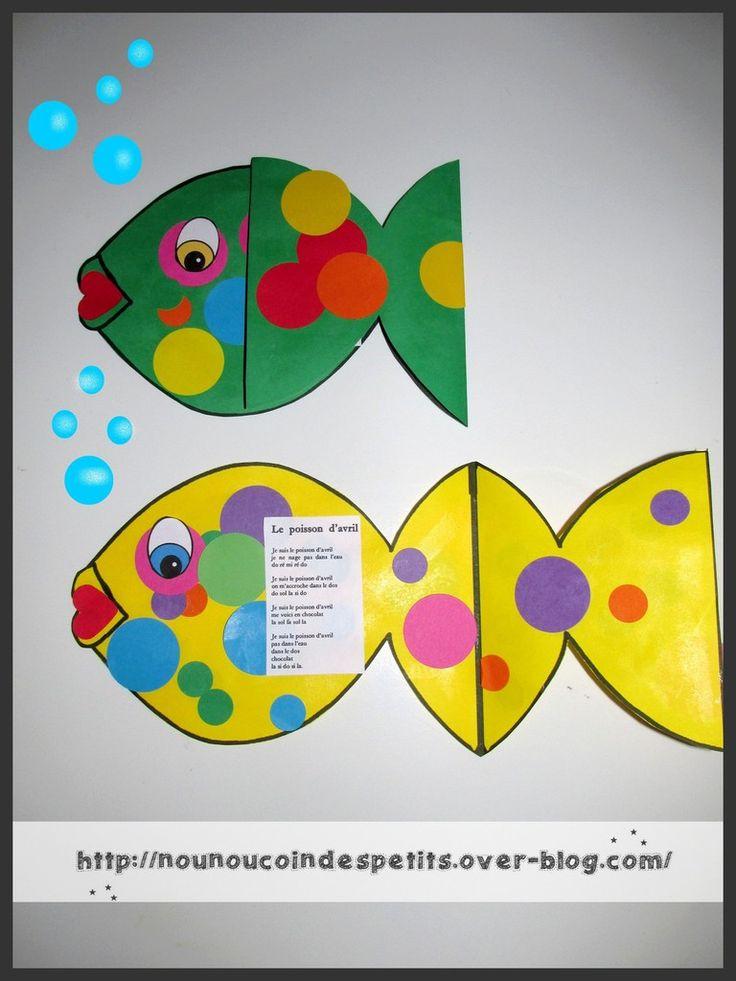 """- Carte poisson d'avril et son poème """" le poisson d'avril """" ( 17 et 19 mois ) - imprimer le gabarit carte sur des feuilles de couleur, puis collage de gommettes gros ronds et petits ronds de toutes les couleurs , un petit coeur rouge pour la bouche !!..."""