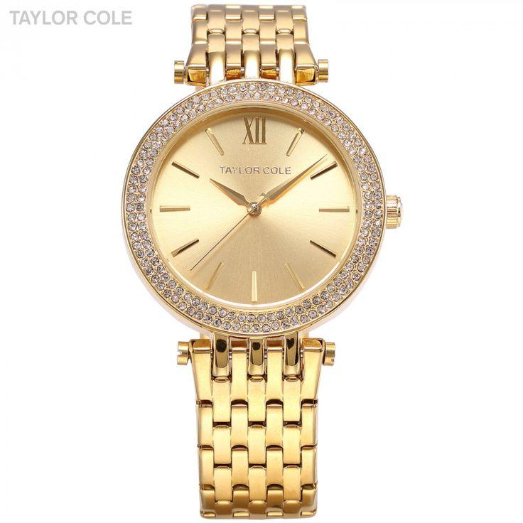 Taylor Cole Luxury Brand Gold Rond Bling Crystal Bezel Relogios Feminino Quartz Analog Clock Casual Women Dress Wristwatch/TC001