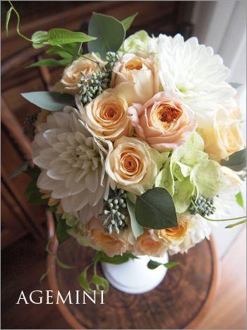 アプリコット色のラウンドブーケ。  |Apricot rose and Dhalia wedding bouquet|AGEMINI