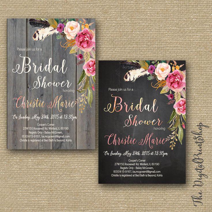 Elegant Rustic Garden, Bridal shower INVITATION invite, wood pink peonies chalkboard, shabby chic Printable DIY 173 Digital Downloadable jpg by DigitalPrintShop on Etsy