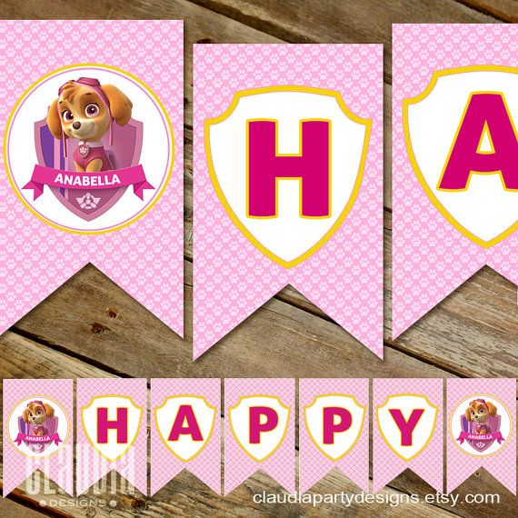 This beautiful Skye Paw Patrol Party Banner is great addition to the puppy birthday party