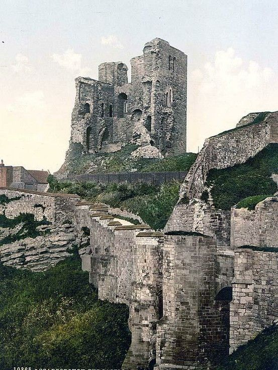 Scarborough CastleScarborough, North Yorkshire,England - the present stone castle dates from the 1150s.Over the centuries, several other structures were added, with medieval monarchs investing heavily in what was then an important fortress. Today the castle is a ruin.