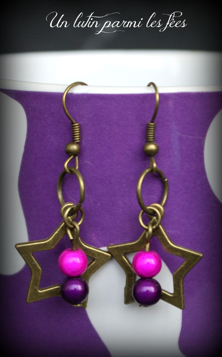 Boucles d'oreille étoiles, perle rose fuchsia et violet : Boucles d'oreille par unlutinparmilesfees