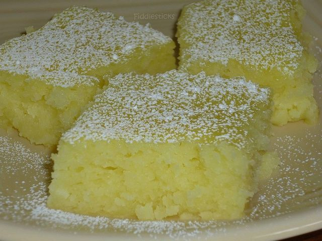 I love angel food cake and I love lemon bars...this is perfect. Two ingredient Lemon Bars. 1 box angel food cake mix 2 cans lemon pie filling (the recipe originally called for only 1 can). Mix dry cake mix and cans of pie filling together in large bowl (I just mixed it by hand) Pour into greased baking pan. Bake at 350 degrees for 25 minutes or until top is starting to brown. Use sugar-free filling.