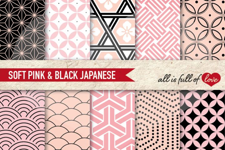 Japanese Backgrounds in Black and Pink Digital Graphics to Print from DesignBundles.net