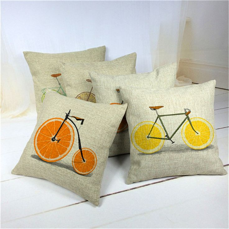 45x45cm  Orange Lemon Bicycle Decorative Yellow Cushion Covers Second Hand Sofas Pillow Case Square Pillow Cushion Cover Home De #Affiliate