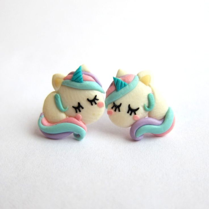 Handmade Polymer Clay Fimo Emo Rainbow Funny Cute Unicorn Horse Earrings Jewelry | eBay