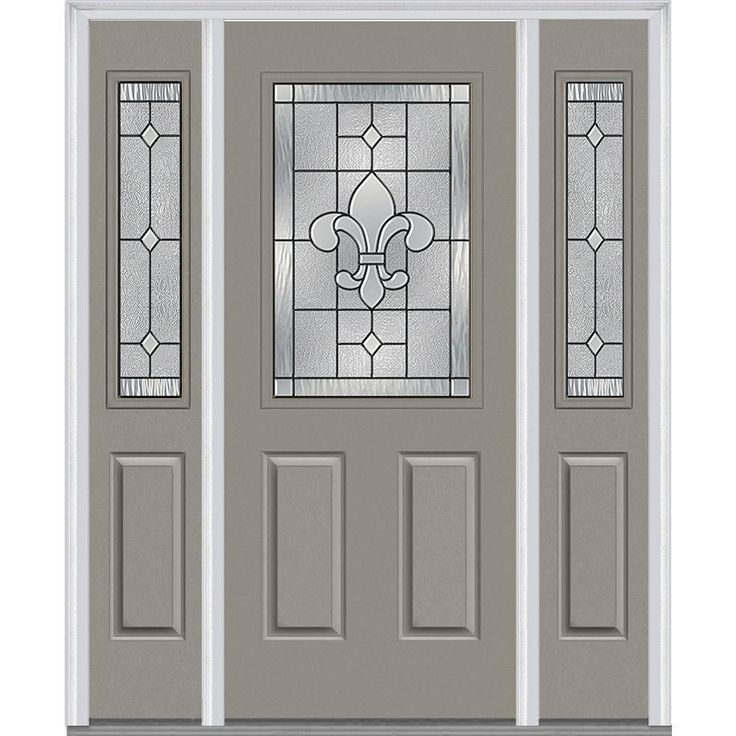 Milliken Millwork 64 5 In X In Carrollton Decorative Glass 1 2 Lite Painted Majestic
