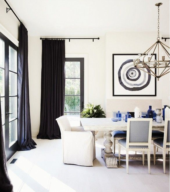 Traditional Dining Room With Navy Curtains
