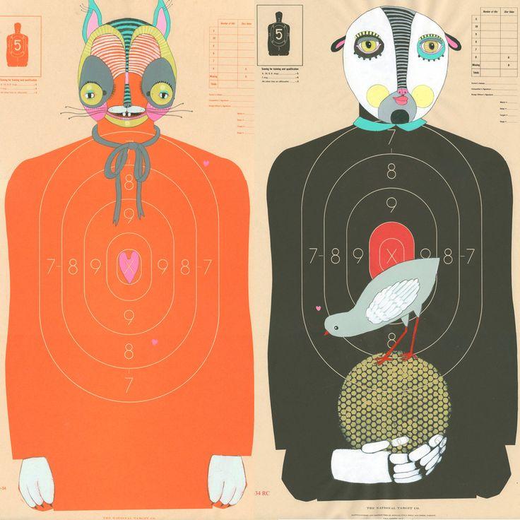 Custom Hand-Painted Paper Shooting Targets by Jennifer Davis