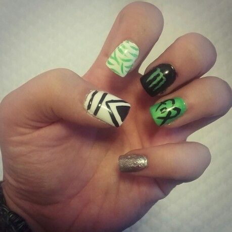 Monster energy, fox racing, nails, nail art