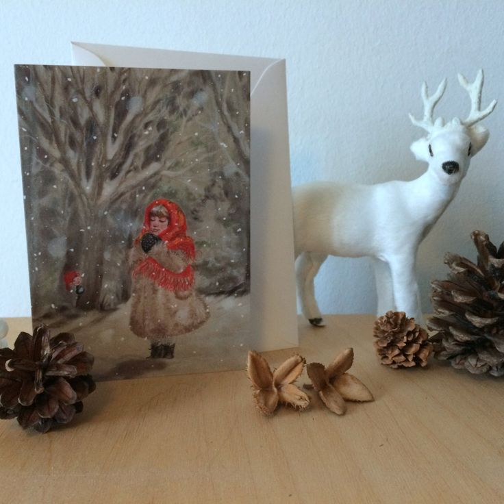 """Christmas Card: """"Hiding gnome"""".   Xmas, holiday, cards, greeting, winter, nordic, new, traditional, woodland, hygge, gnome, nisse, tomte, snow by ArtLisbethThygesen on Etsy"""