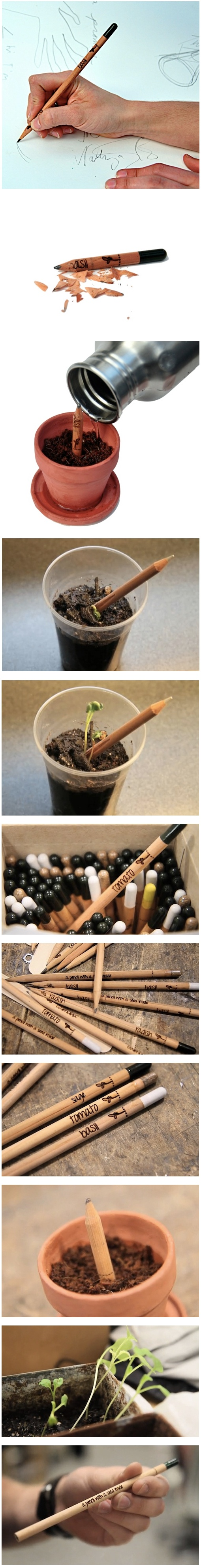 Sprout: a pencil with potential...  When This Pencil Becomes Too Short, Plant It to Grow Herbs.  Project by #democratech  http://www.kickstarter.com/projects/democratech/sprout-a-pencil-with-a-seed