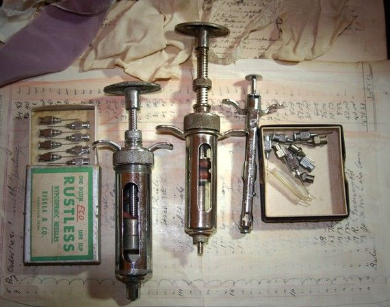 antique medical instruments  | Vintage MEDICAL Equipment Shots Syringes and by VintageSupplyCo