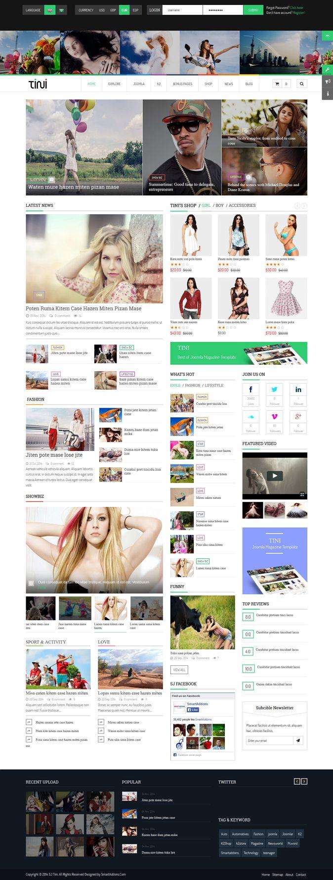 Tini New Joomla Template for News Magazine Shop