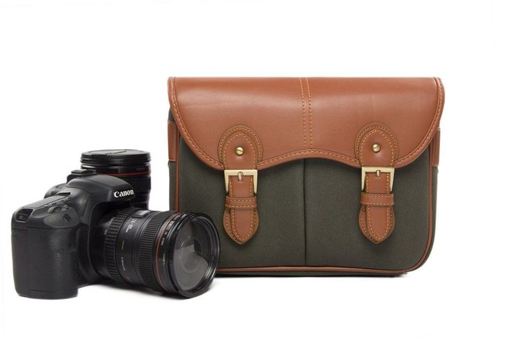Leather DSLR Camera Bag, Army Green SLR Camera Case H216