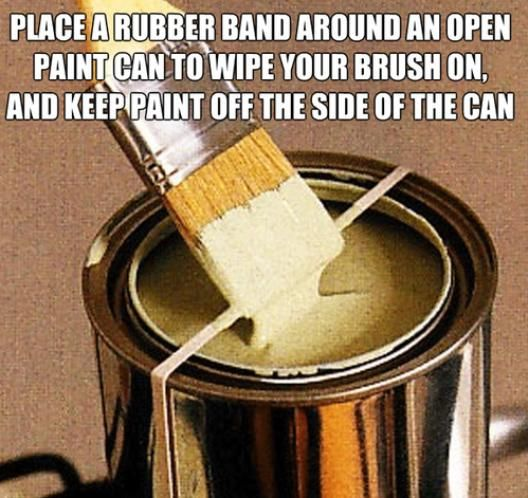 Place a rubber band around an open paint can to wipe your brush on, and keep paint off the side of the can.