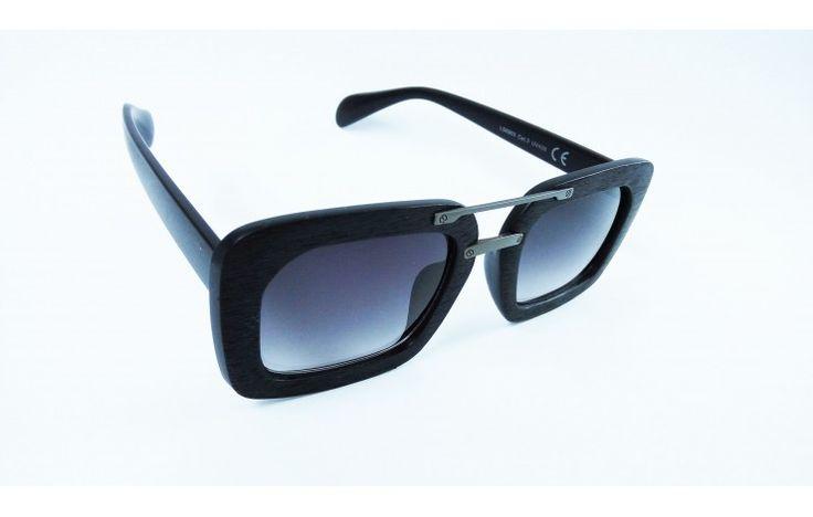 Γυαλιά ηλίου στυλ ξύλινα τετράγωνα μαύρα