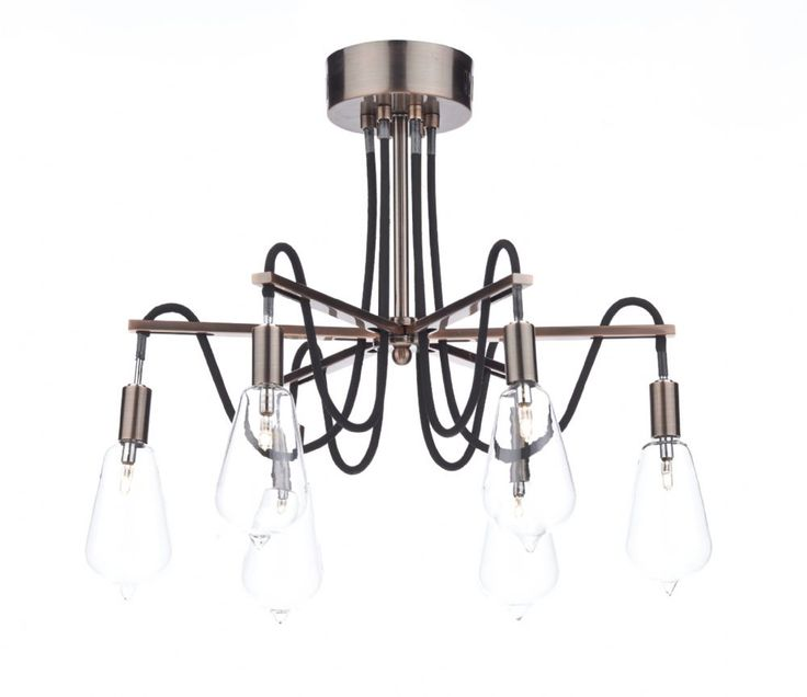 Scroll 6 Light Semi Flush Copper