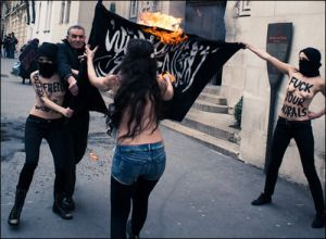 Pics of Arab Version of Ice Bucket Challenge: Burning #ISIS Flags – whilst being a hot topless Lebanese girl.