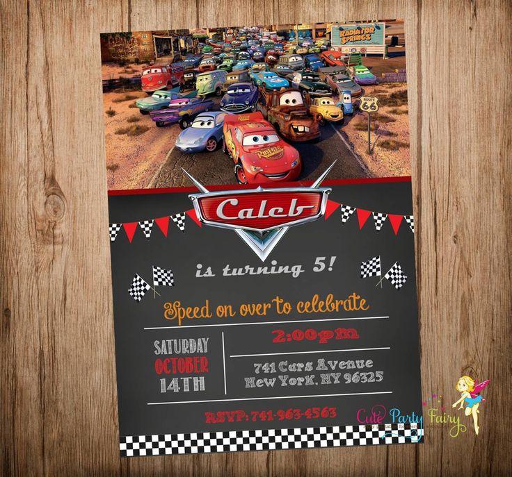 Cars Birthday Invitation, Disney Cars Invitation, Cars Party Invitation, Cars Chalkboard Invitation, Do-It-Yourself Digital File. by CutePartyFairy on Etsy https://www.etsy.com/listing/223706564/cars-birthday-invitation-disney-cars