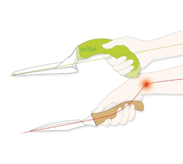 designed2enable | Radius Garden Hand Fork demonstrating the ergonomic design of the Radius hand tools for users wth Arthritis