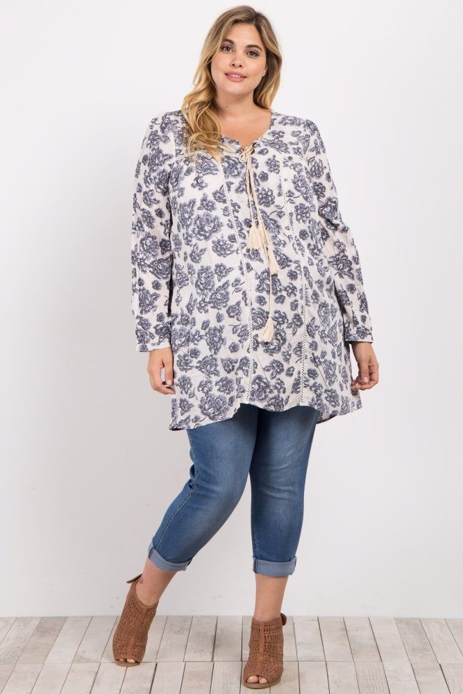 This stunning plus size maternity tunic is the perfect piece to add some new florals to your wardrobe. A flowy maternity tunic will keep you comfortable while this gorgeous print will make you feel pretty all day long. Simply pair with maternity leggings or jeans and booties for an adorable ensemble.