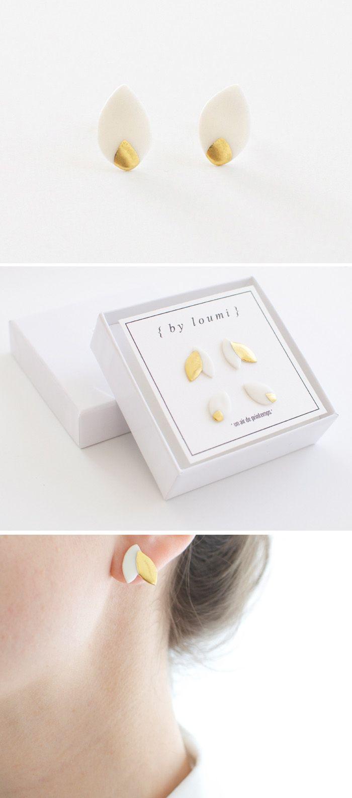 Minimalist porcelain stud earrings - white & gold { by loumi }