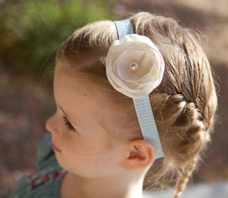 White Handmade Flower With Pearl Center on Blue Chevron Headband