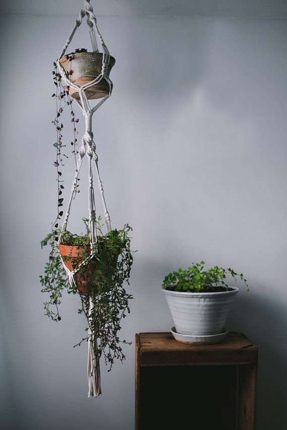 Tiered Macrame Plant Hanger / 35 Inch / 100% Cotton / Home