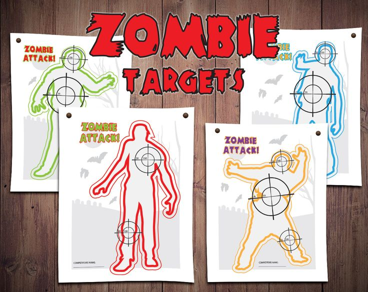 nerf party, nerf shooting game, nerf bullseye, nerf printables, printable kids games, zombie printables, nerf zombie party, bulls eye by GradientFox on Etsy