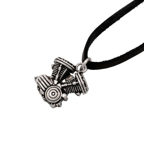 Motorcycle Engine Antique SILVER Pendant BLACK Leather Necklace