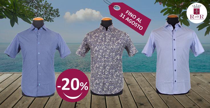 Le OFFERTE del mese! Nuova collezione camicie uomo manica corta in promozione al 20% di sconto. Fino al 31 agosto. Tutte le taglie anche taglie forti. #robyandroby #camiciauomo #mensshirt #tutteletaglie #taglieforti
