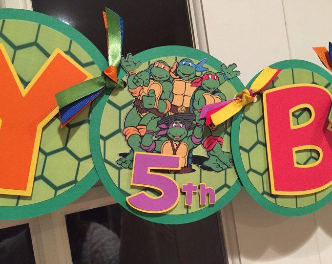Banner de feliz cumpleaños de Teenage Mutant Ninja tortugas
