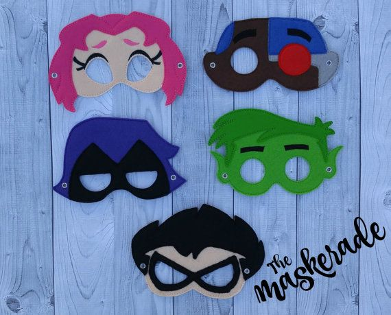 Teen Titans Inspired Felt Mask Raven Robin Cyborg by TheMaskerade                                                                                                                                                     More