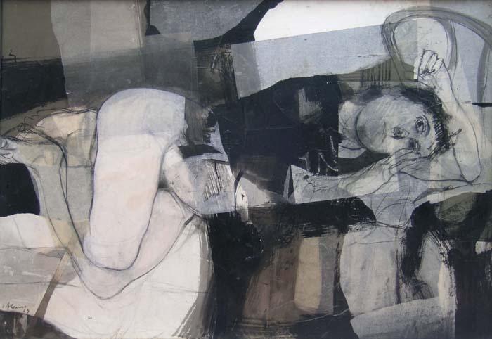 Mujer a punto de llorar. Carlos Alonso Año 1963. Mixta sobre aglomerado