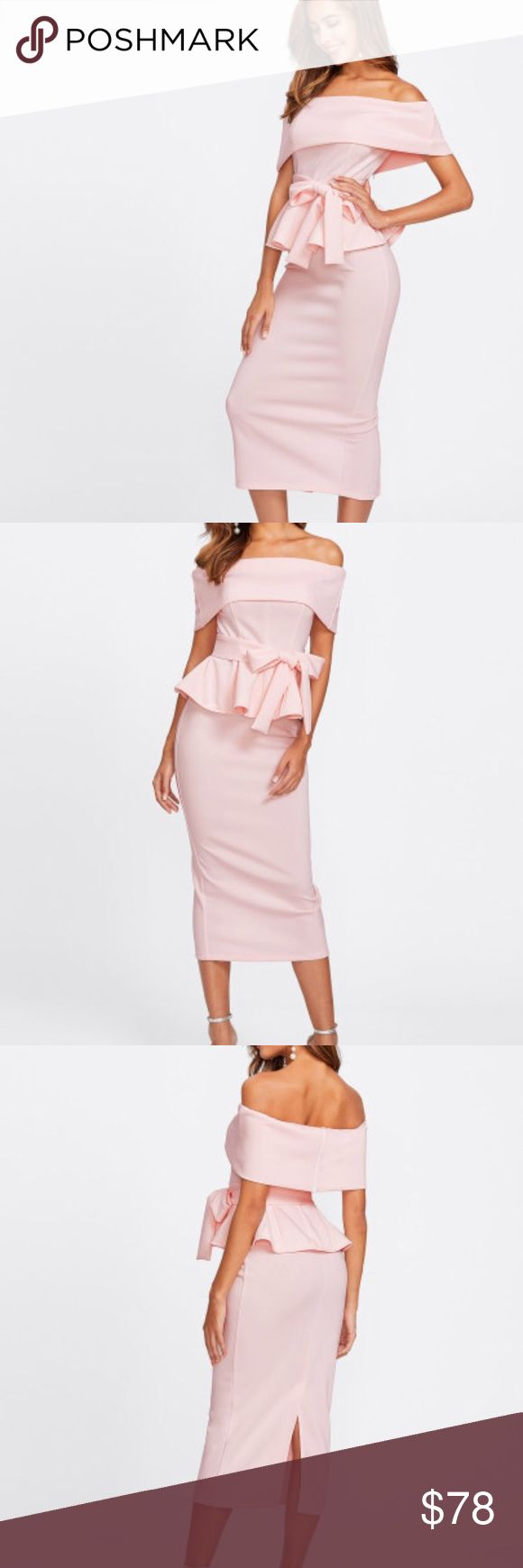Foldover Bardot Peplum Top & Skirt Set Pre order- sale  Beautiful off shoulders set in blush / pink   Foldover Bardot Peplum Top & Skirt Set Ruffle, Ruffle Hem, Zipper, Belted, Split, Knot 95 % polyester 5% spandex  True to size Amabella Boutique Dresses Midi