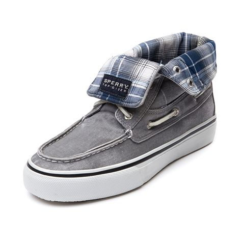 Size: 9.5 (preferred)  Shop for Mens Sperry Top-Sider Bahama Casual Shoe in Gray at Journeys Shoes. Shop today for the hottest brands in mens shoes and womens shoes at Journeys.com.A higher-cut version of the classic Sperry boat shoe featuring a  canvas upper that can be rolled down to reveal a plaid lining; Rust-proof eyelets and a non-marking rubber sole that provides ultimate traction in wet or dry conditions.