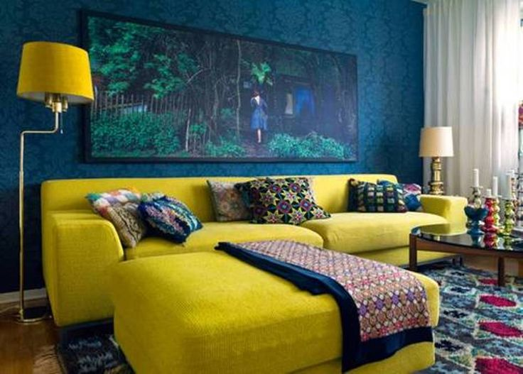 Home Design and Decor , Interior Decorating With Colors : Living Room Decorating With Colors With Yellow Sofa And Ottoman And Floor Lamp Shade And Teal Wallpaper And Vertical Wall Art And White Curtain