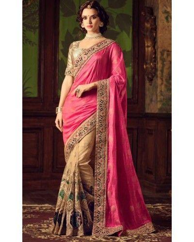 Pink & Beige Embroidered Half n Half Saree