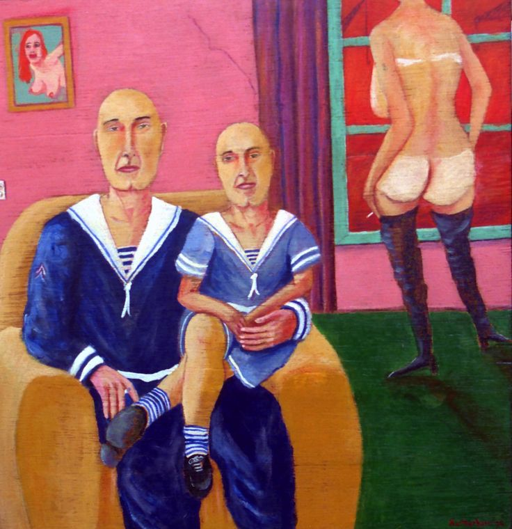 Vader en zoon - oil on panel - 33x34cm - ©Henk van Merkom - 1994