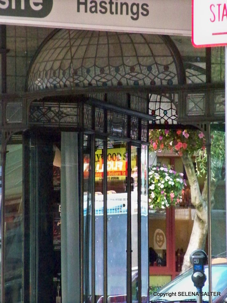 Window lead-light entrance canopy on the Westermans building Hastings HB NZ