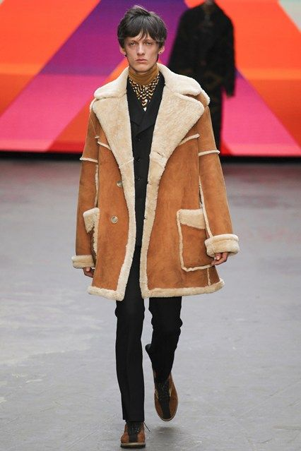 Topman's shearling coat + our Harris Tweed Panel bags = The Perfect Match