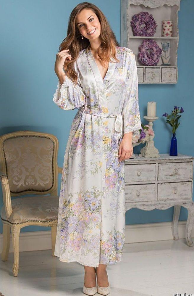 Kimono Morgenmantel Hausmantel Bademantel Pyjama Nachtwäsche Satin