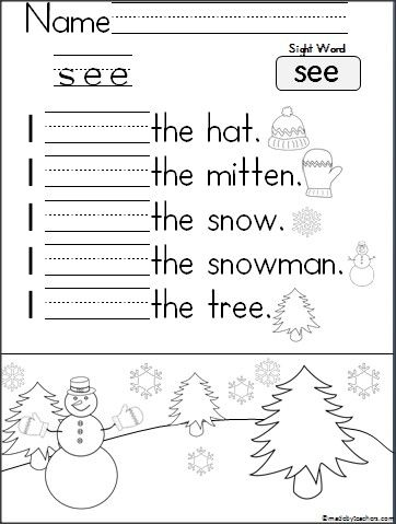 "Help your students learn to read and write the word ""see"" with this great winter worksheet.  Students read, trace, and write the word on the lines.  Each sentence has a picture to help students read independently.  Early finishers can color the picture on the bottom of the page."