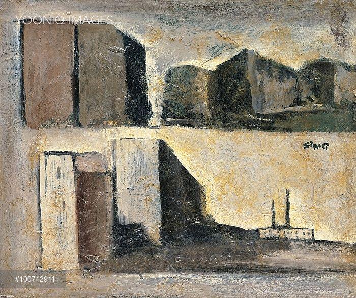 Mario Sironi, Composizione di paesaggi urbani. Ol on canvas.