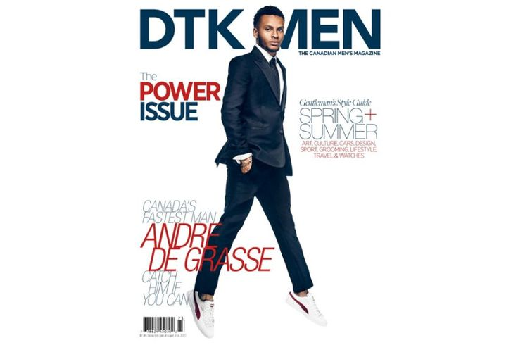 Canadian sprinter Andre De Grasse is shown on the cover of DTK Men magazine. 2017
